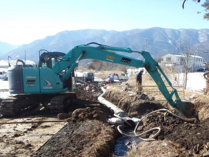 富士見町落合一の沢工区水路工事